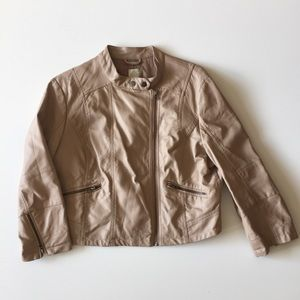 LC Lauren Conrad Beige Faux Leather Bomber Jacket